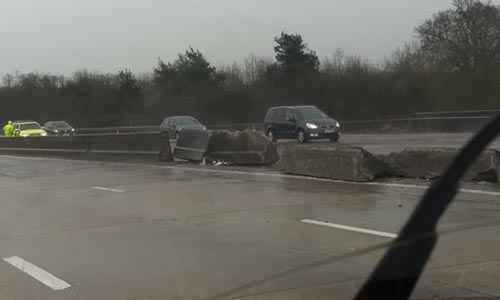 Broken M25 Barrier